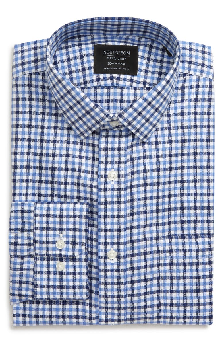 NORDSTROM MEN'S SHOP Smartcare<sup>™</sup> Trim Fit Check Dress Shirt, Main, color, BLUE DEPTHS