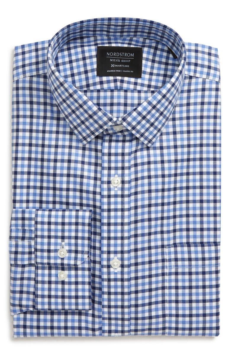 NORDSTROM Men's Shop Smartcare<sup>™</sup> Trim Fit Check Dress Shirt, Main, color, BLUE DEPTHS