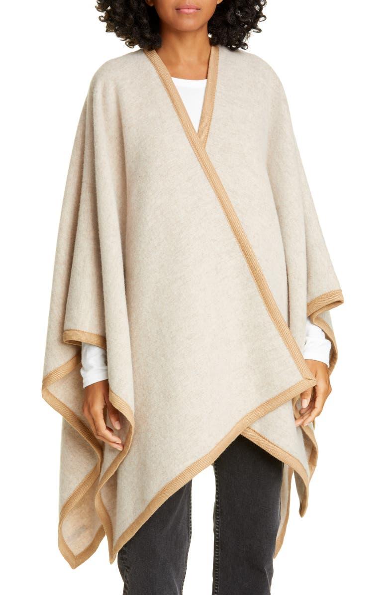 RAG & BONE Contrast Edge Wool Blend Poncho, Main, color, OATMEAL