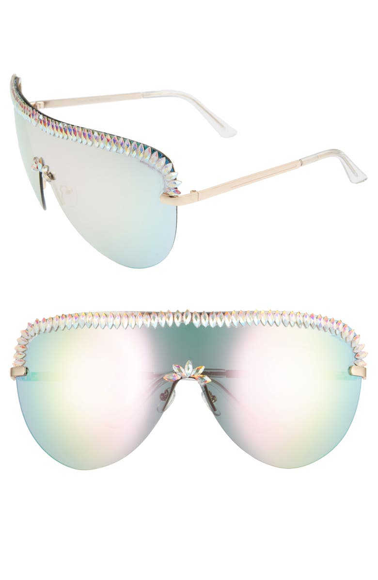 RAD + REFINED Crystal Embellished Rainbow Shield Sunglasses, Main, color, CRYSTAL/ MULTI