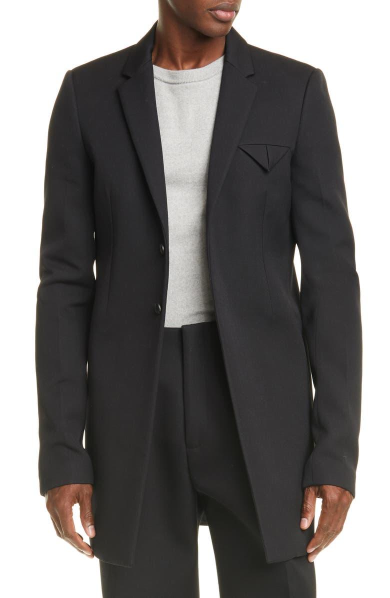 BOTTEGA VENETA Double Compact Wool Jacket, Main, color, NERO