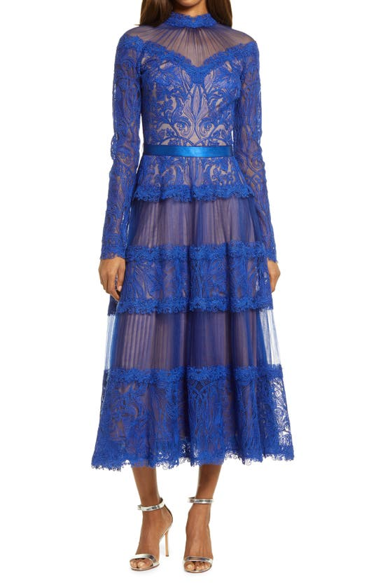 Tadashi Shoji Long Sleeve Illusion Neck Lace Midi Dress In Cobalt