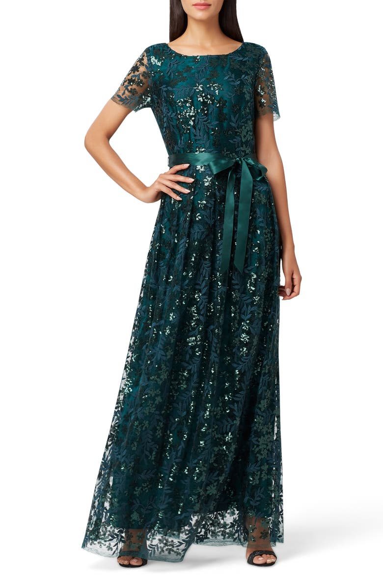 TAHARI Embellished Lace Gown, Main, color, HUNTER GREEN