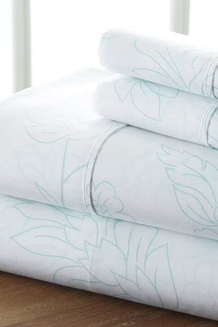 Image of IENJOY HOME The Home Spun Premium Ultra Soft Vine Pattern 4-Piece Queen Bed Sheet Set - Aqua