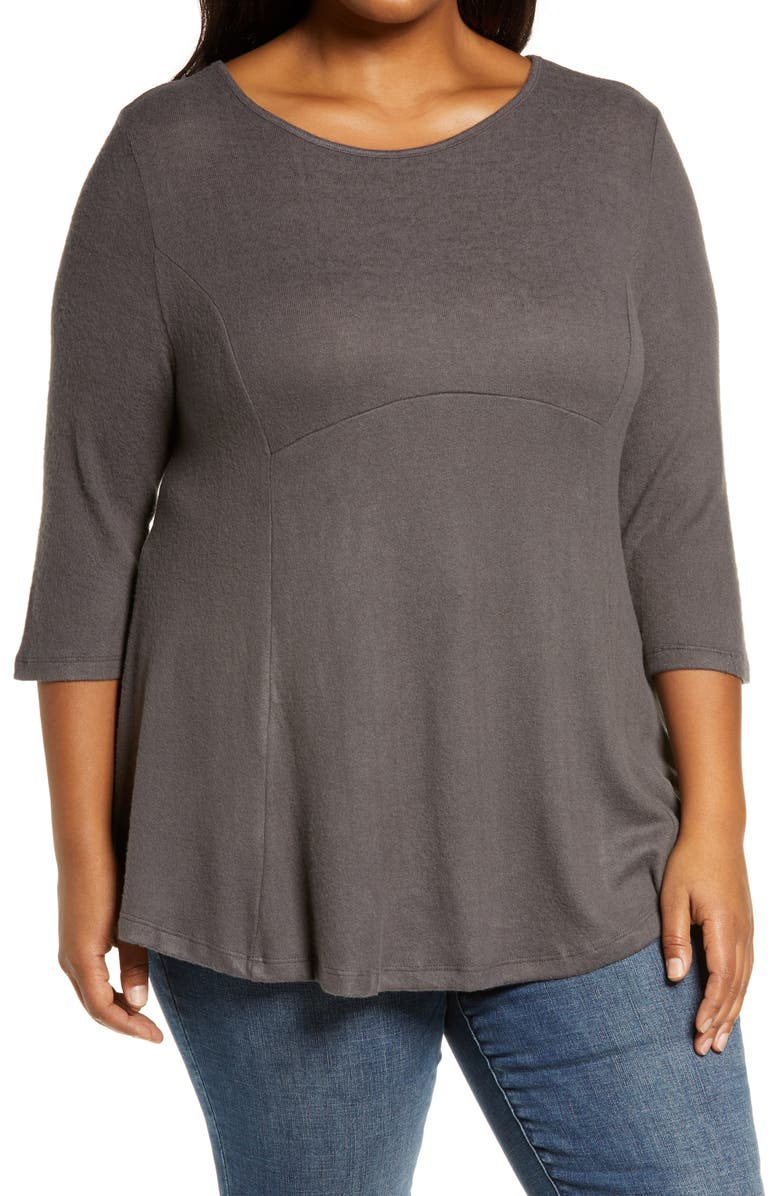 BOBEAU Brushed Knit Babydoll Top, Main, color, DARK CHARCOAL