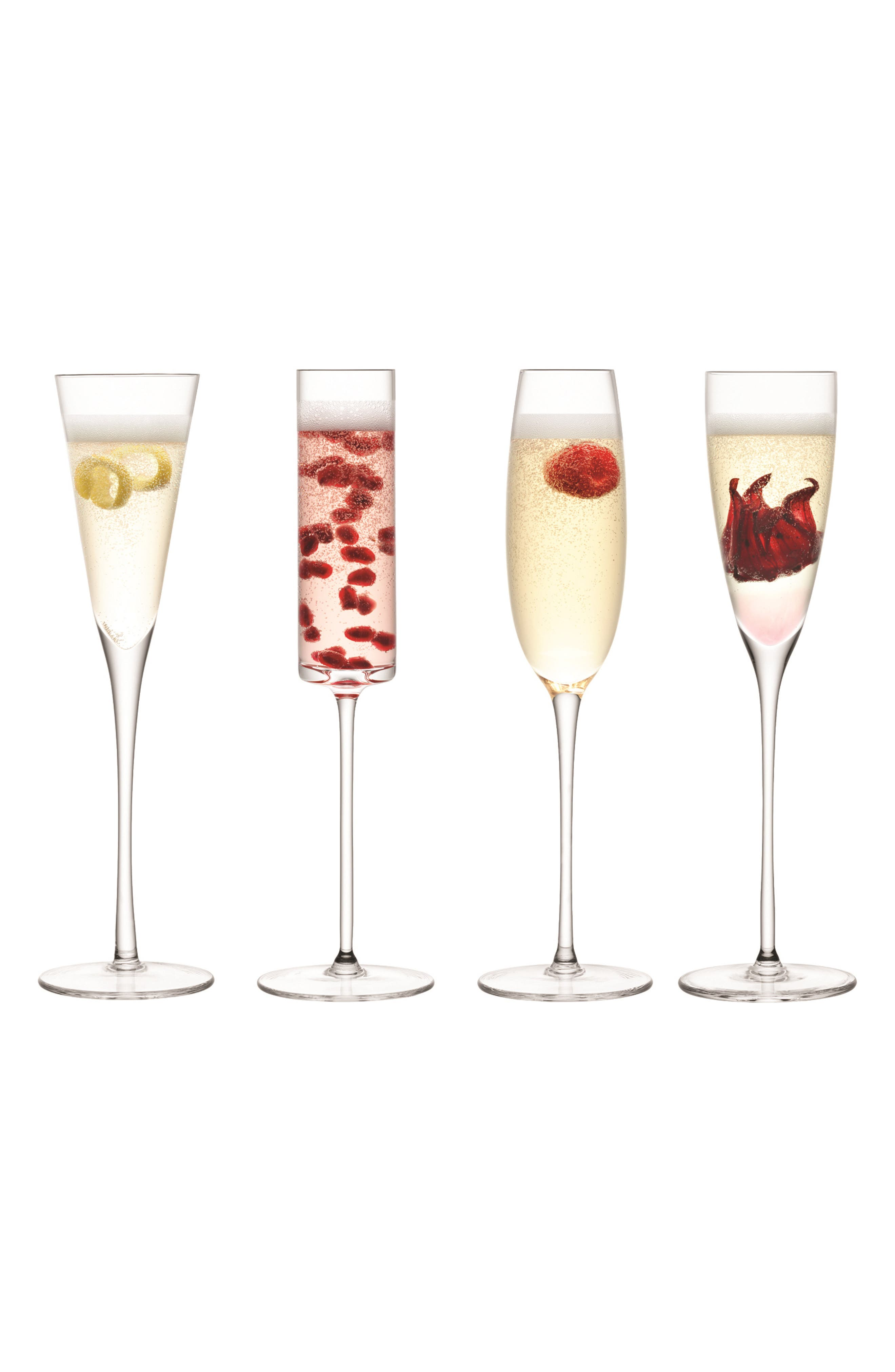 Lulu Set of 4 Champagne Flutes, Main, color, CLEAR