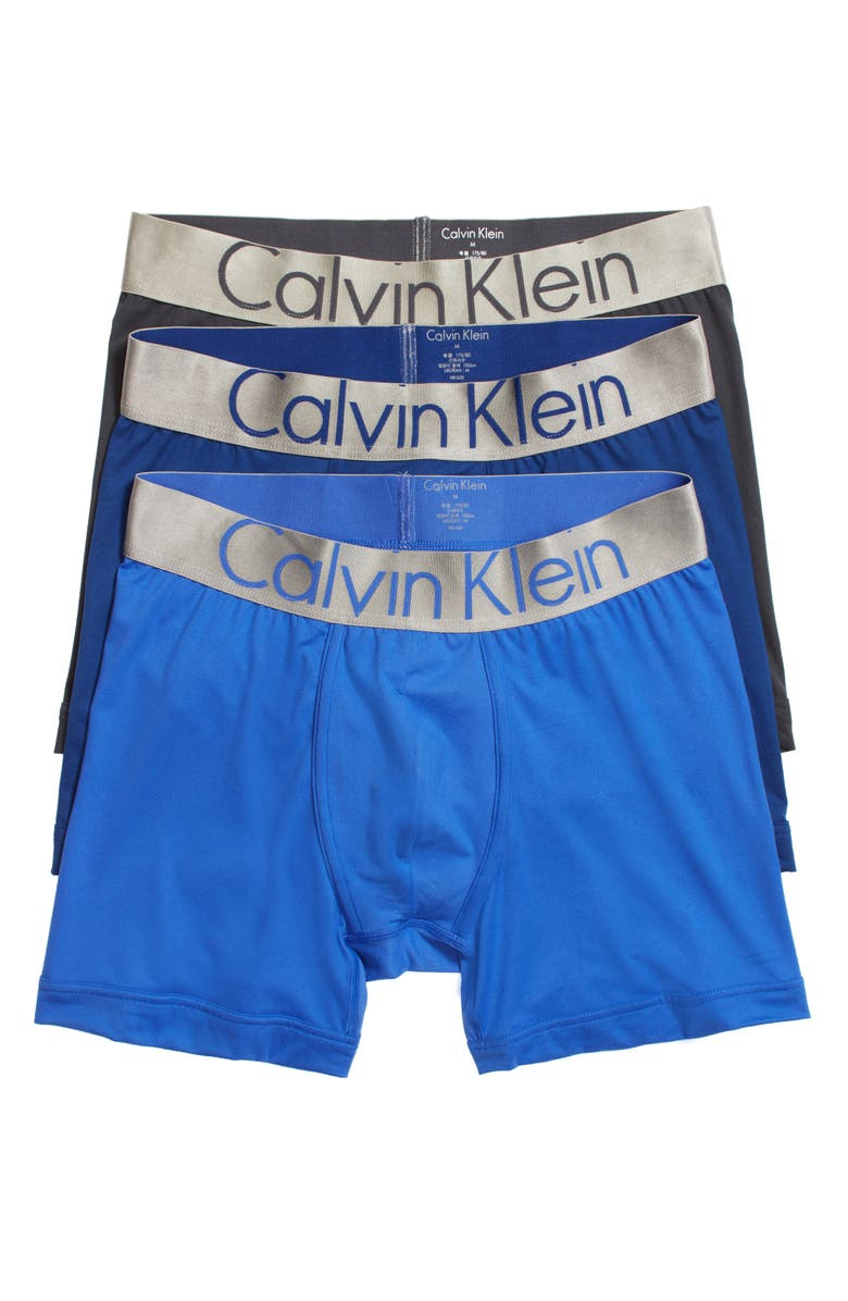 CALVIN KLEIN Steel Micro 3-Pack Boxer Briefs, Main, color, BLUE MULTI