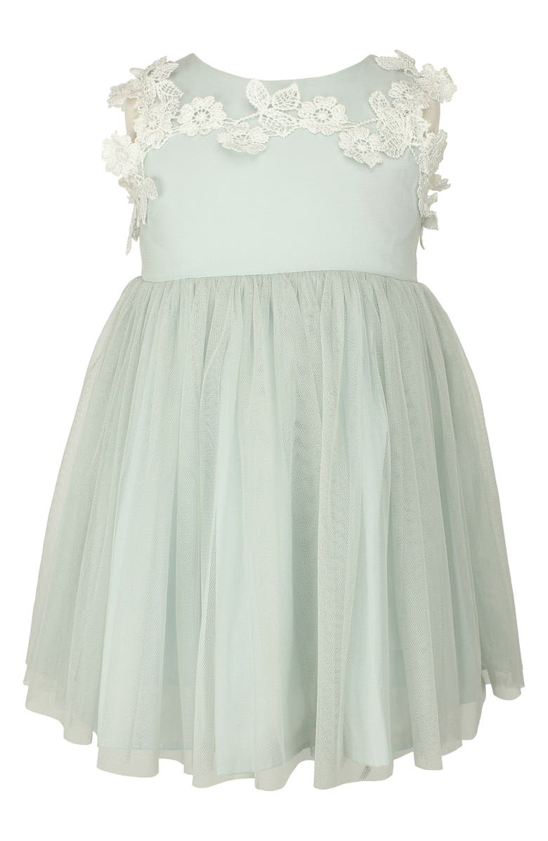 POPATU Floral Appliqué Tulle Dress, Main, color, SAGE