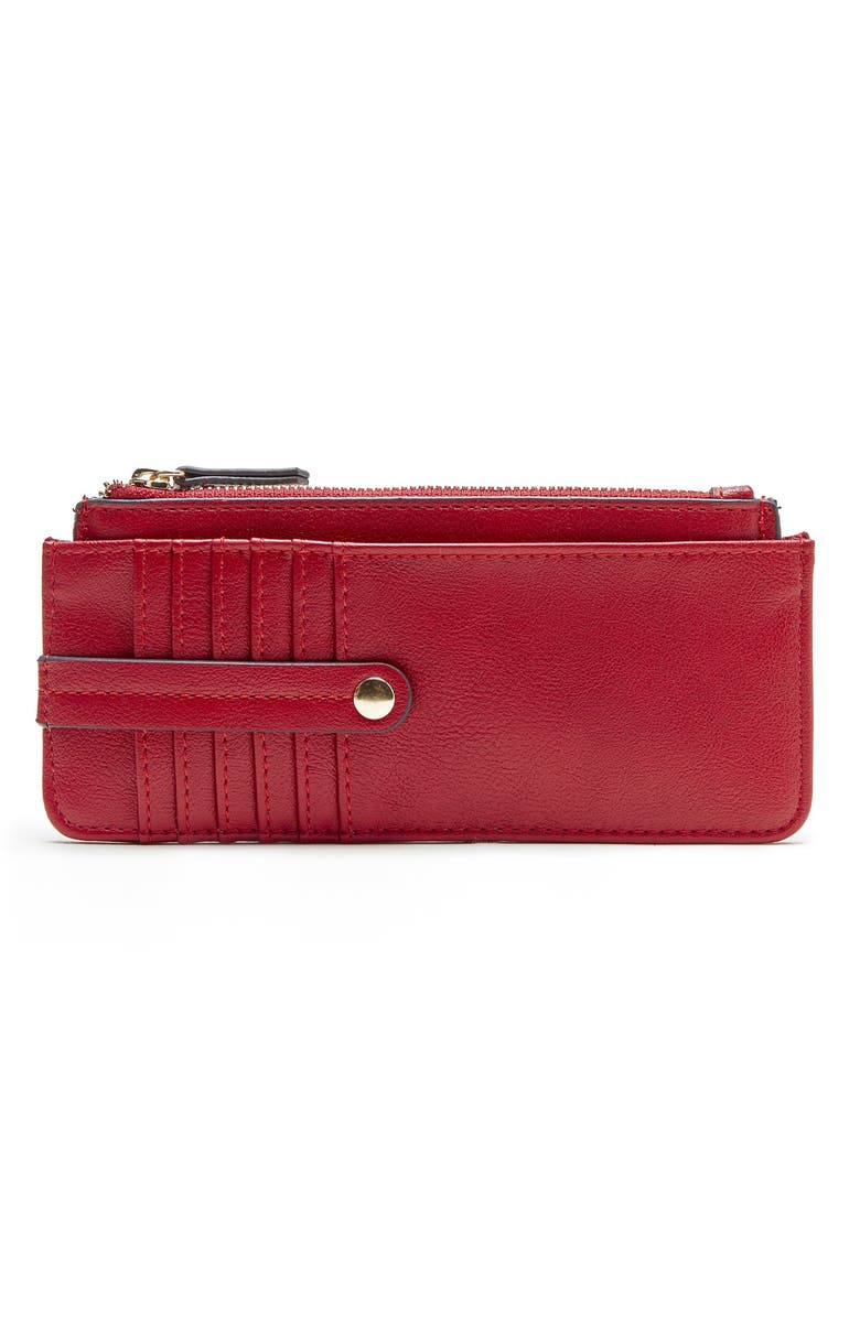 SOLE SOCIETY TZ Faux Leather Card Case, Main, color, LIPSTICK RED
