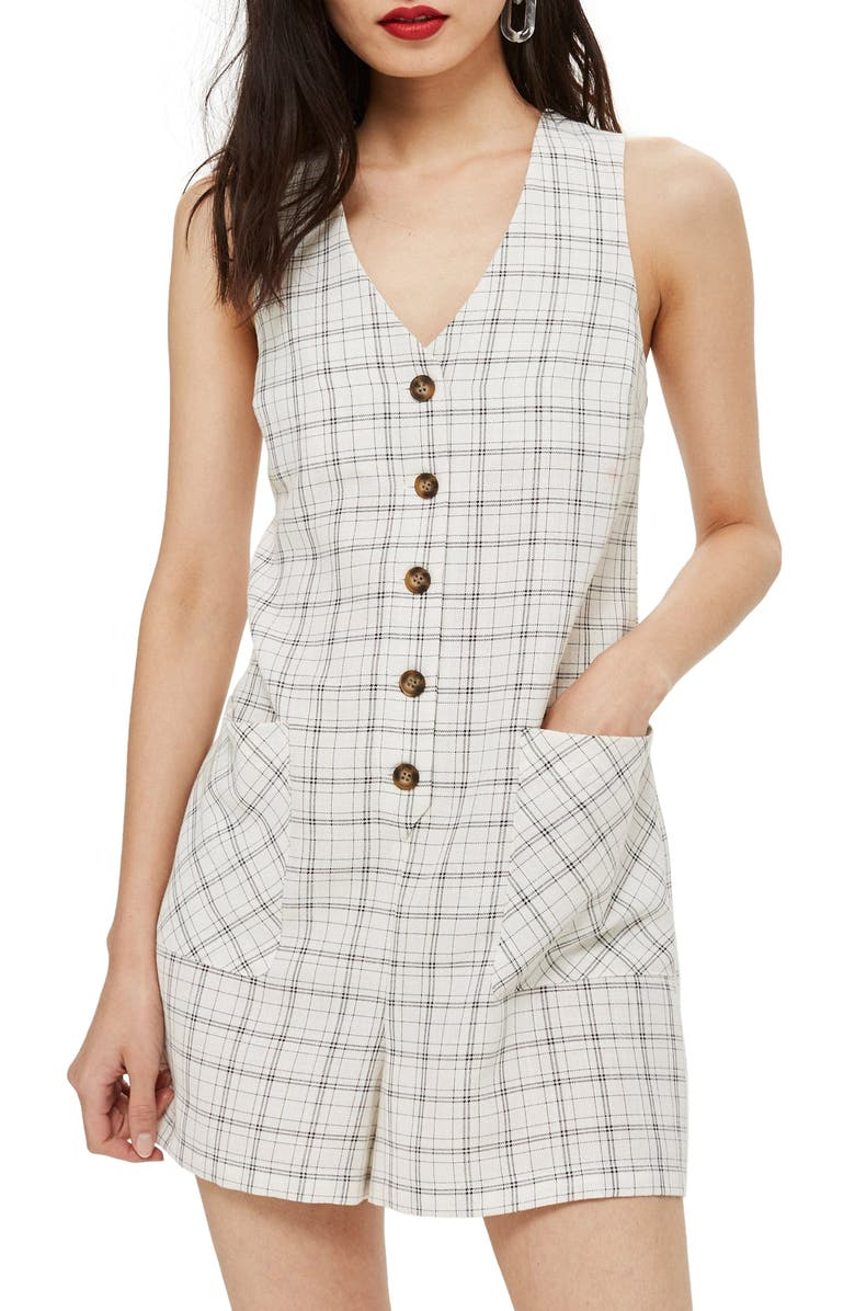 TOPSHOP Check Button Romper, Main, color, 100