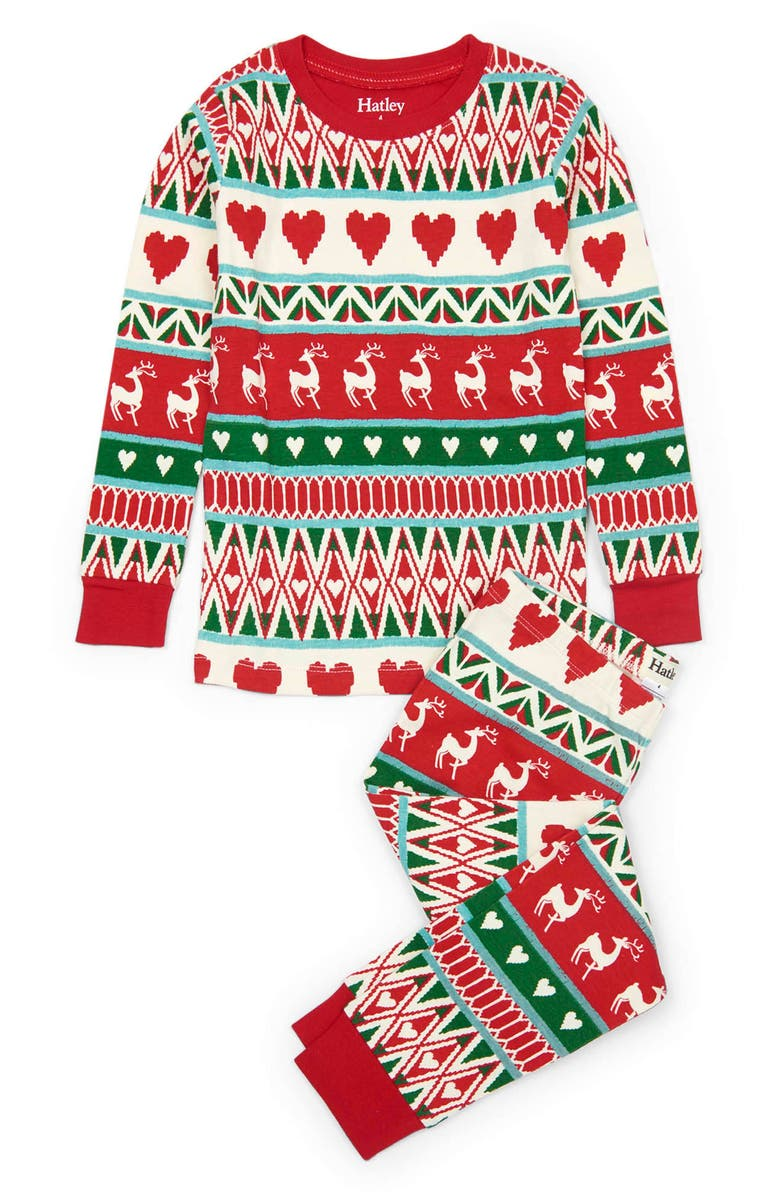 HATLEY Mistletoe Deer Fair Isle Fitted Two-Piece Pajamas, Main, color, 101
