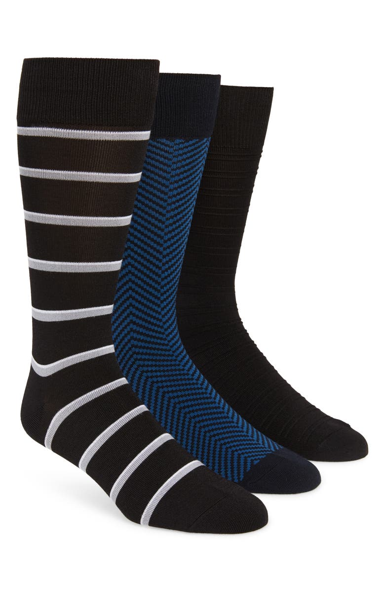 NORDSTROM MEN'S SHOP 3-Pack Ultrasoft Socks, Main, color, BLACK/ NAVY