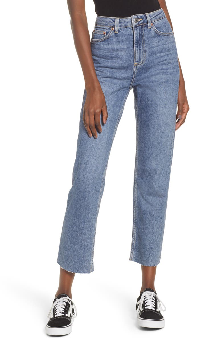 TOPSHOP High Waist Raw Hem Jeans, Main, color, MID BLUE