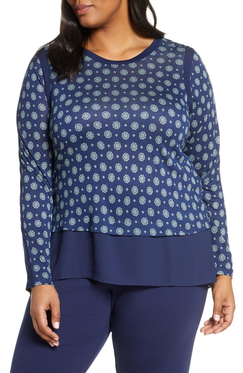 MICHAEL MICHAEL KORS Medallion Print Foulard Layered Top, Main, color, TRUE NAVY/ SEA GREEN