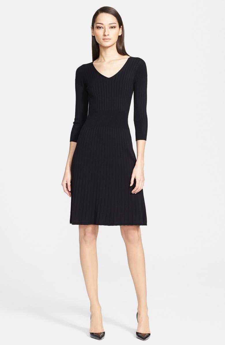 ARMANI COLLEZIONI Rib Knit A-Line Dress, Main, color, 001