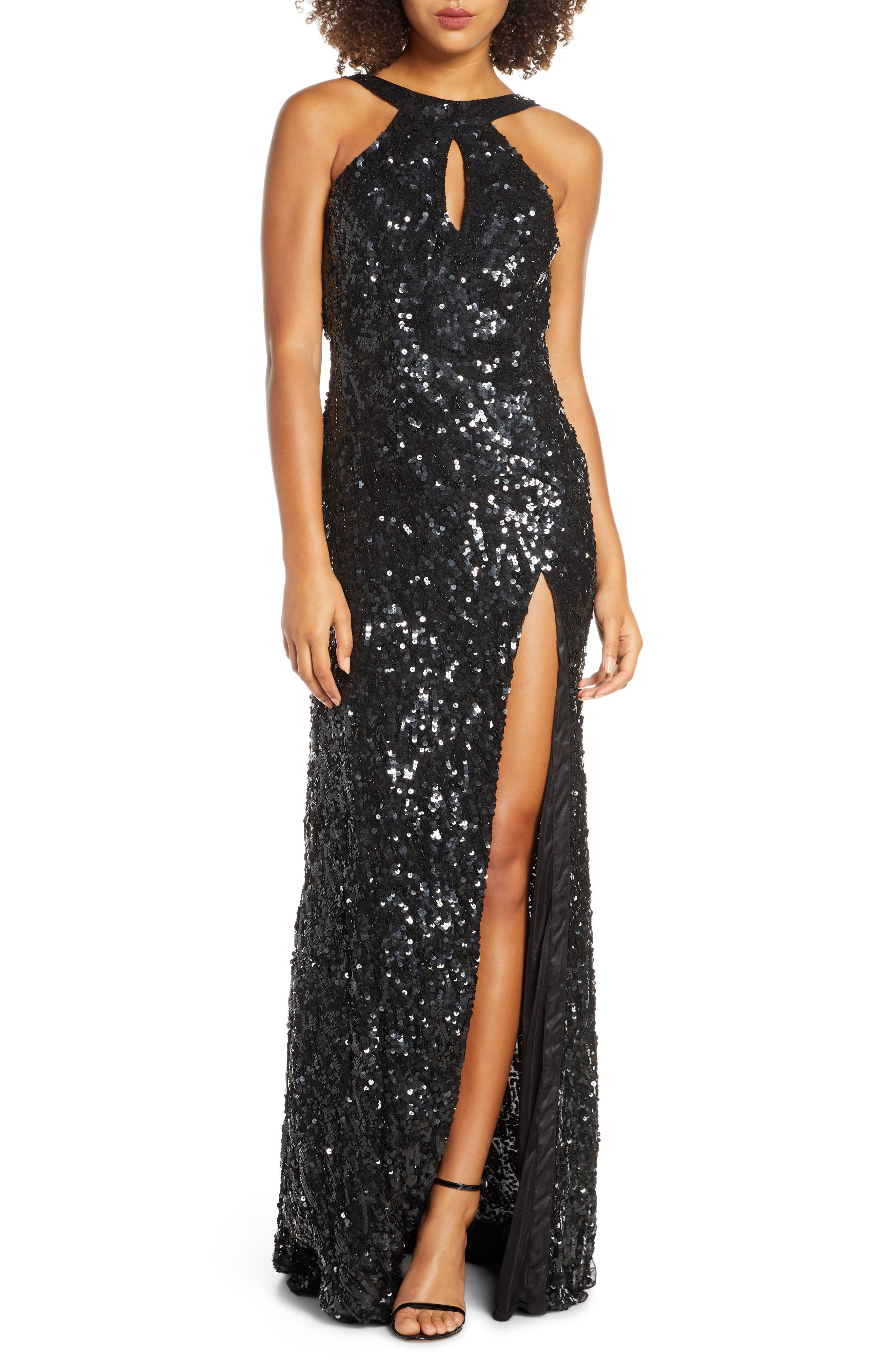 MAC Duggal Sequin Cowl Back Gown, Black