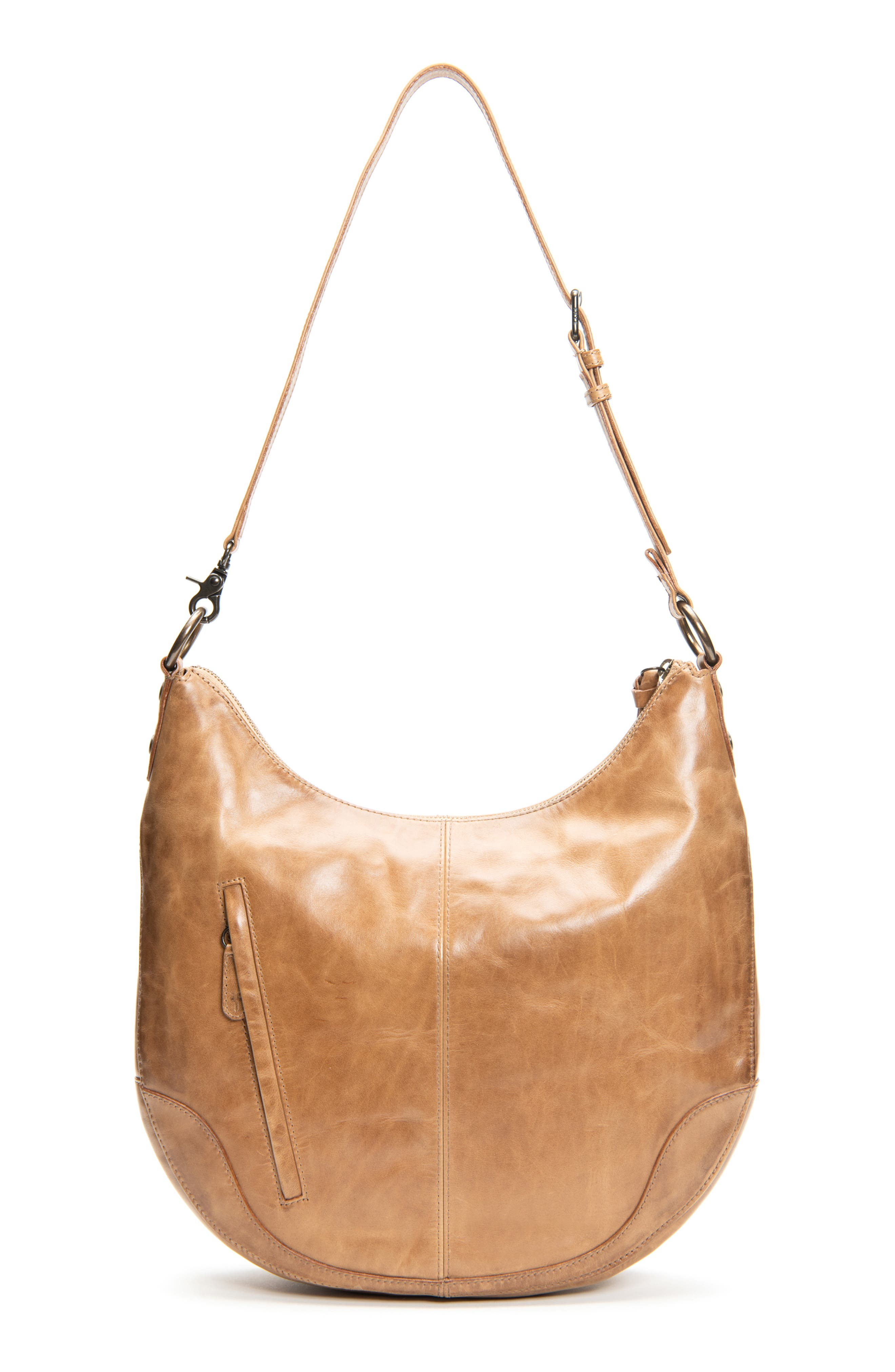 Inspired by Frye\\\'s iconic Melissa boot, this roomy hobo bag in burnished Italian leather features a rounded silhouette that fits comfortably over your shoulder. Style Name: Frye Melissa Leather Hobo. Style Number: 5893440. Available in stores.