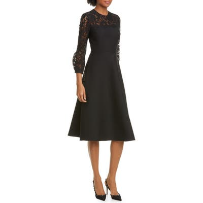 Valentino Lace Contrast Wool & Silk Midi Dress, 8 IT - Black