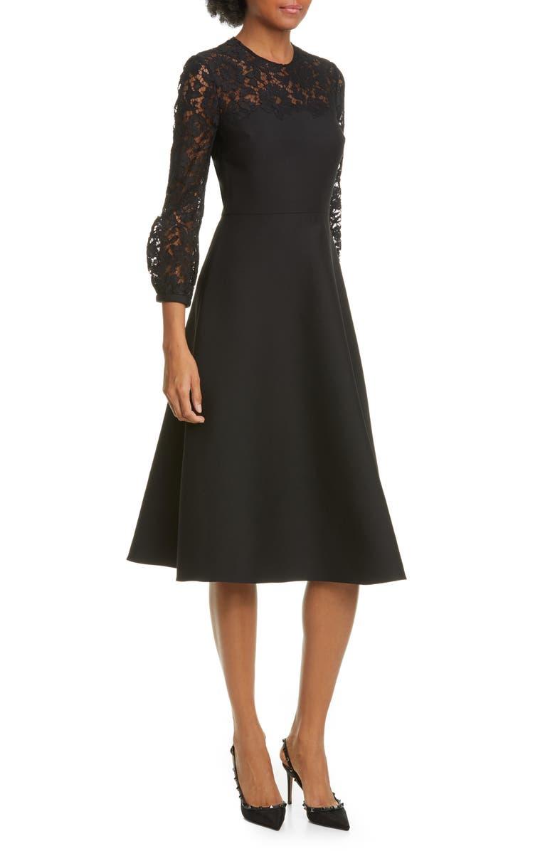 VALENTINO Lace Contrast Wool & Silk Midi Dress, Main, color, NERO