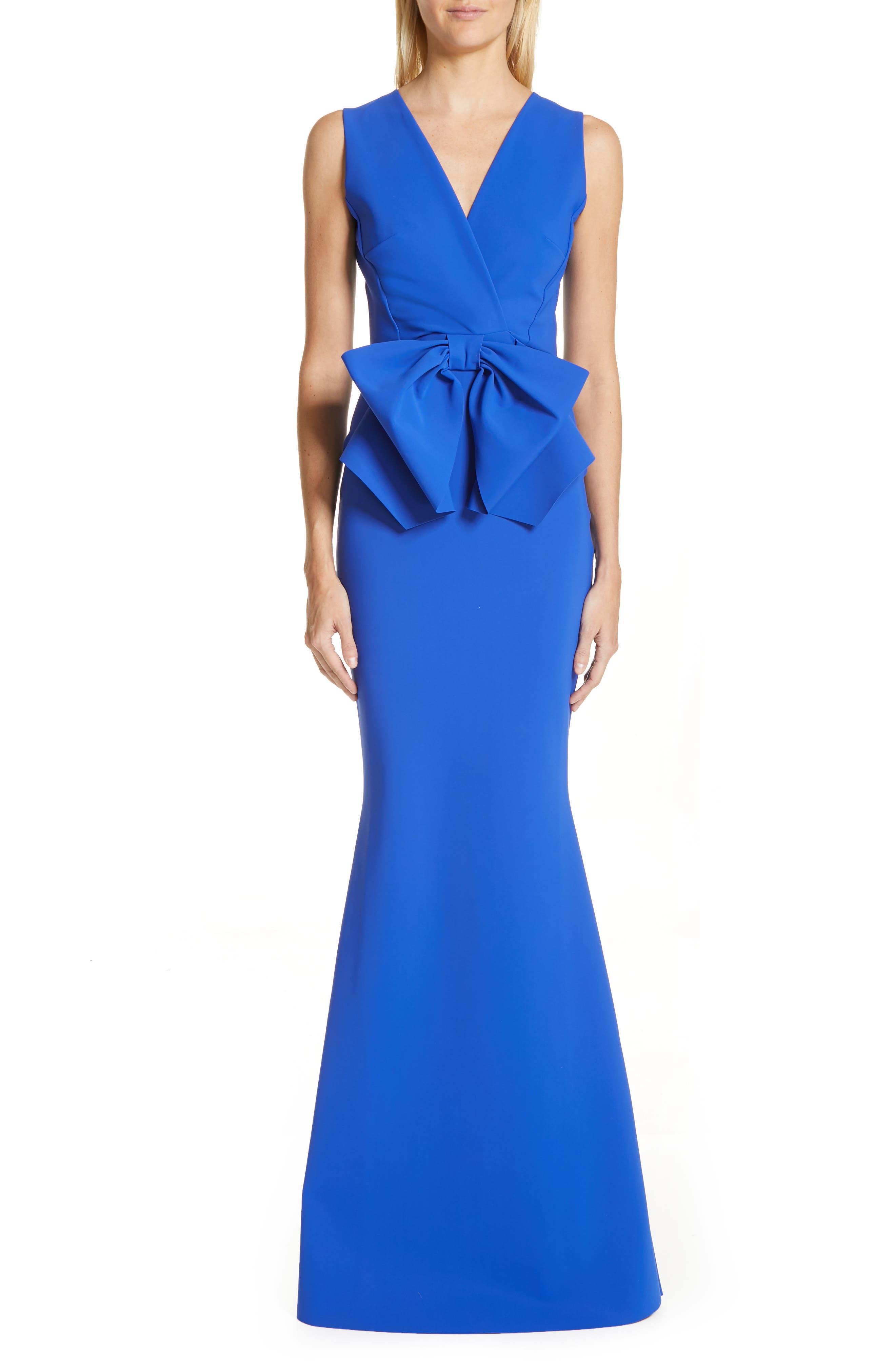Chiara Boni La Petite Robe Oshun Bodice Bow Evening Dress, US / 44 IT - Blue