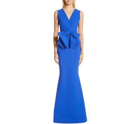 Chiara Boni La Petite Robe Oshun Bodice Bow Evening Dress, 8 IT - Blue