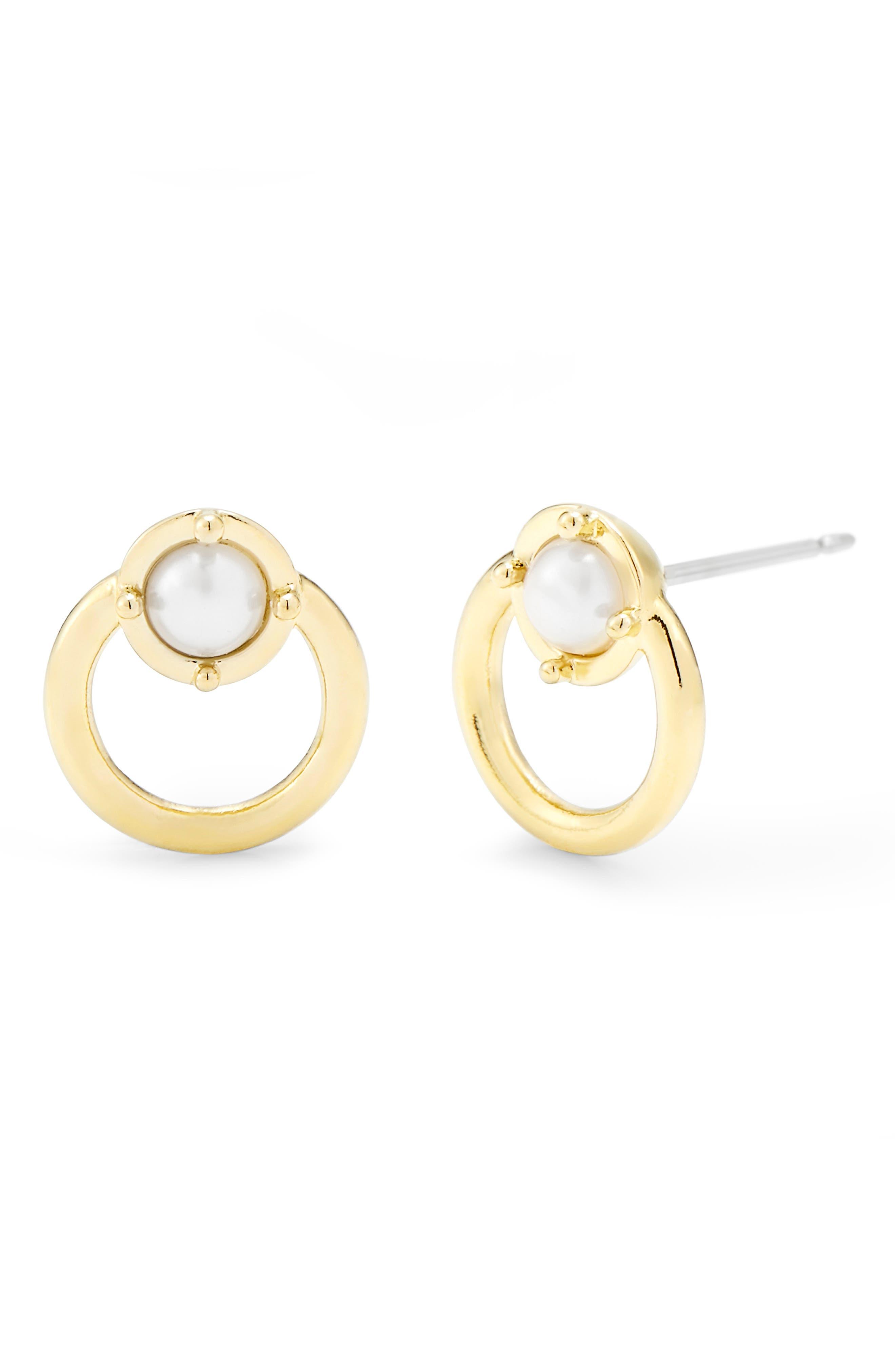 Mia Simulated Pearl Front Hoop Earrings