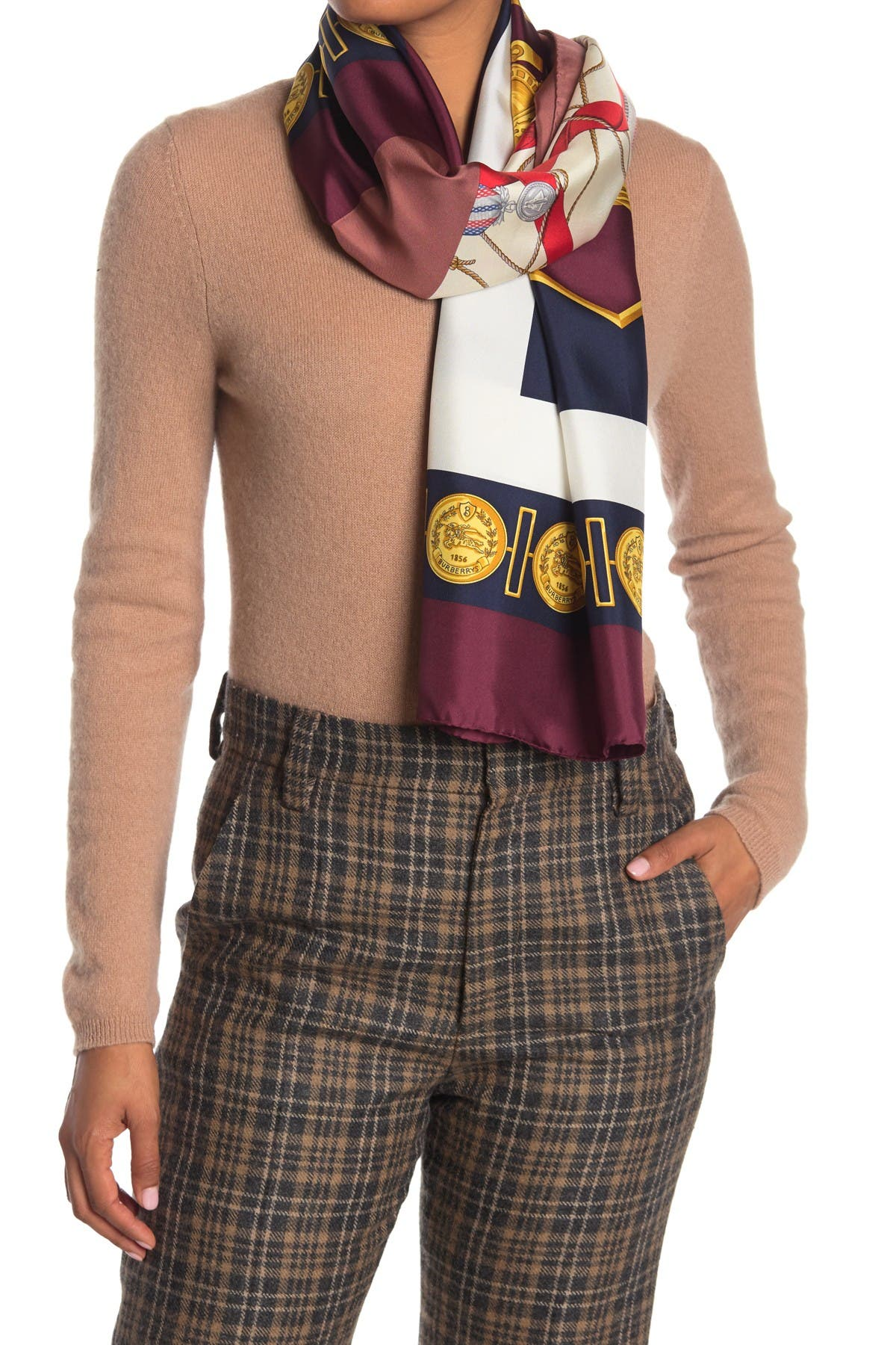 Image of Burberry Medal Silk Scarf