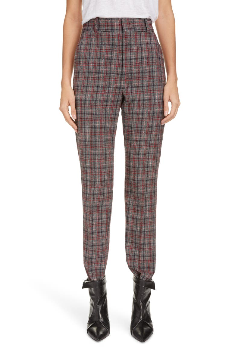 ISABEL MARANT Plaid Straight Leg Crop Pants, Main, color, RED/ BLACK