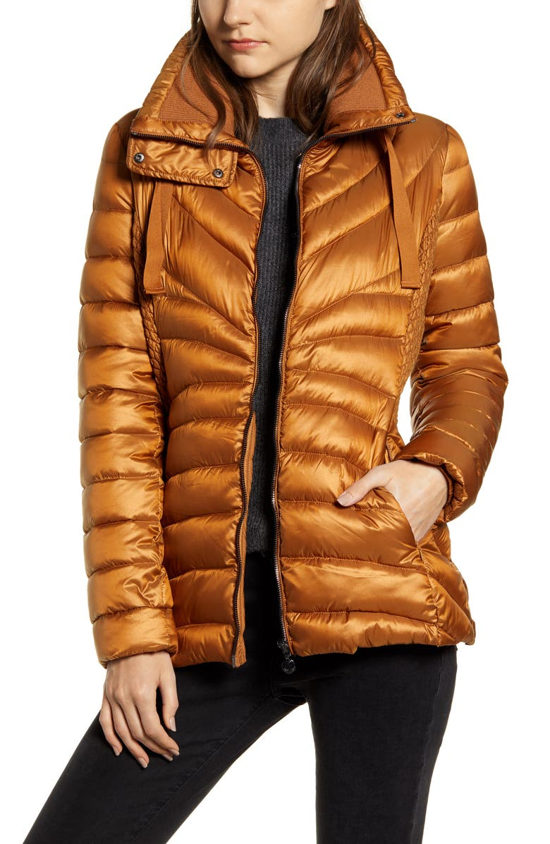 BERNARDO Packable Water Resistant Puffer Jacket, Main, color, SUNSET GLOW
