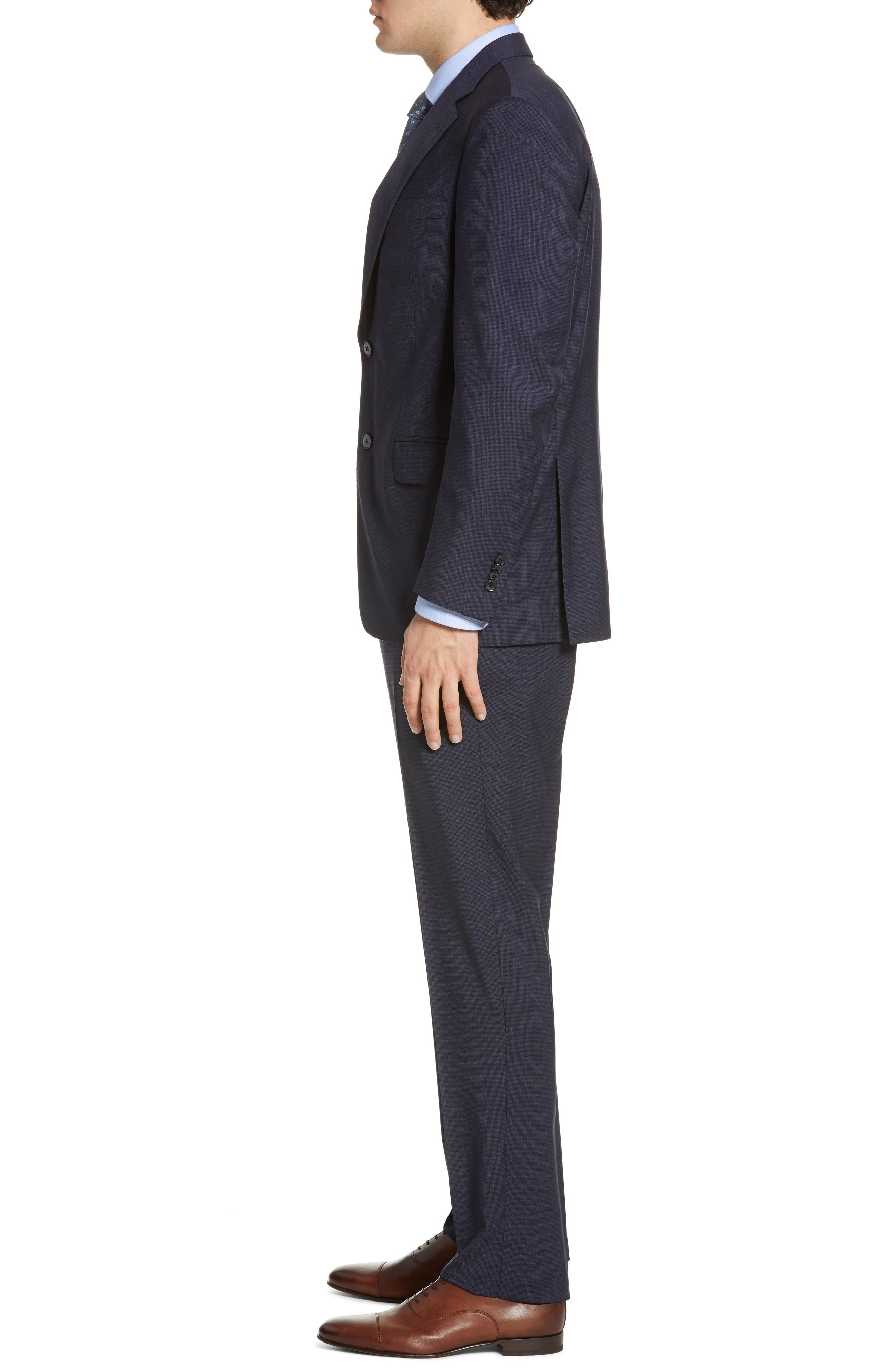 ,                             Flynn Classic Fit Check Wool Suit,                             Alternate thumbnail 4, color,                             NAVY