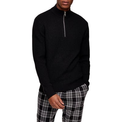 Topman Half Zip Mock Neck Sweater, Black
