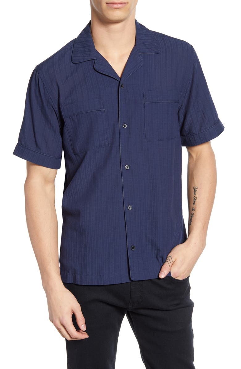 SATURDAYS NYC Cameron Dobby Solid Camp Shirt, Main, color, MIDNIGHT