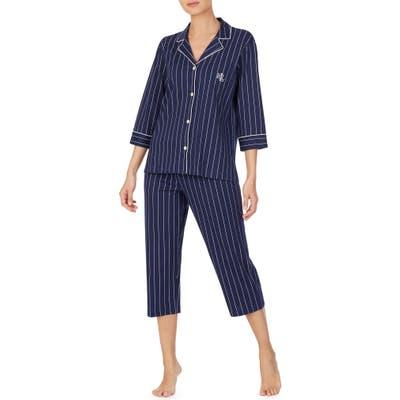 Lauren Ralph Lauren Knit Crop Cotton Pajamas, Blue