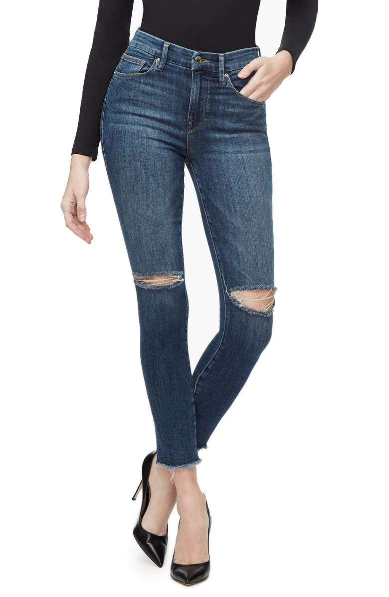 GOOD AMERICAN Good Waist Ripped Fray Hem Ankle Skinny Jeans, Main, color, BLUE