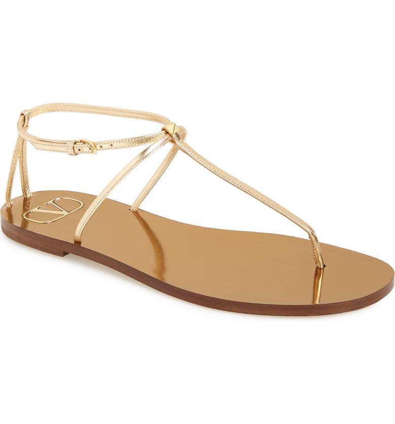 VALENTINO GARAVANI Rockstud T-Strap Sandal, Main, color, DARK GOLD