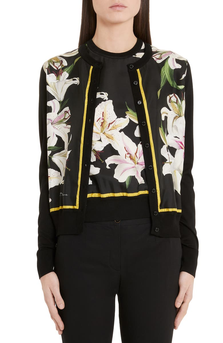 DOLCE&GABBANA Lily Panel Silk Cardigan, Main, color, BLACK LILY