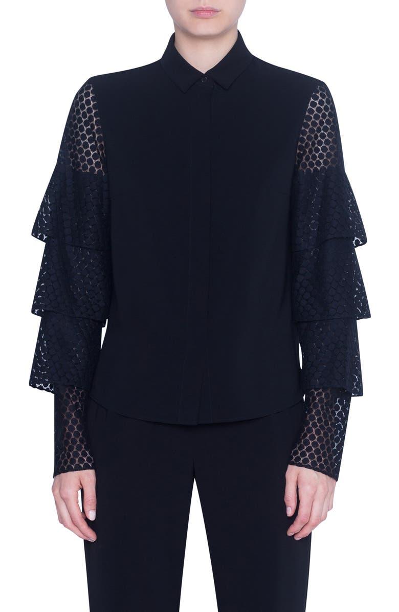 AKRIS PUNTO Dot Lace Tiered Sleeve Shirt, Main, color, BLACK