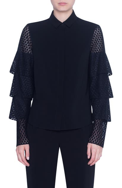 Akris Punto T-shirts DOT LACE TIERED SLEEVE SHIRT