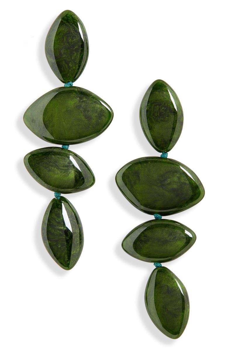 CULT GAIA Ida Drop Earrings, Main, color, MALACHITE