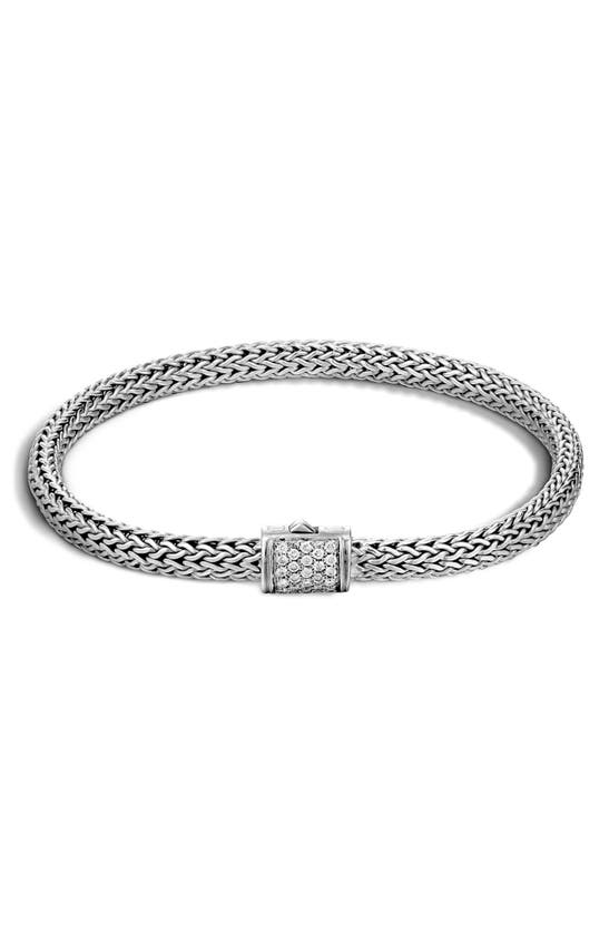 John Hardy Classic Chain Sterling Silver Extra Small Bracelet With Diamond Pave In White/silver
