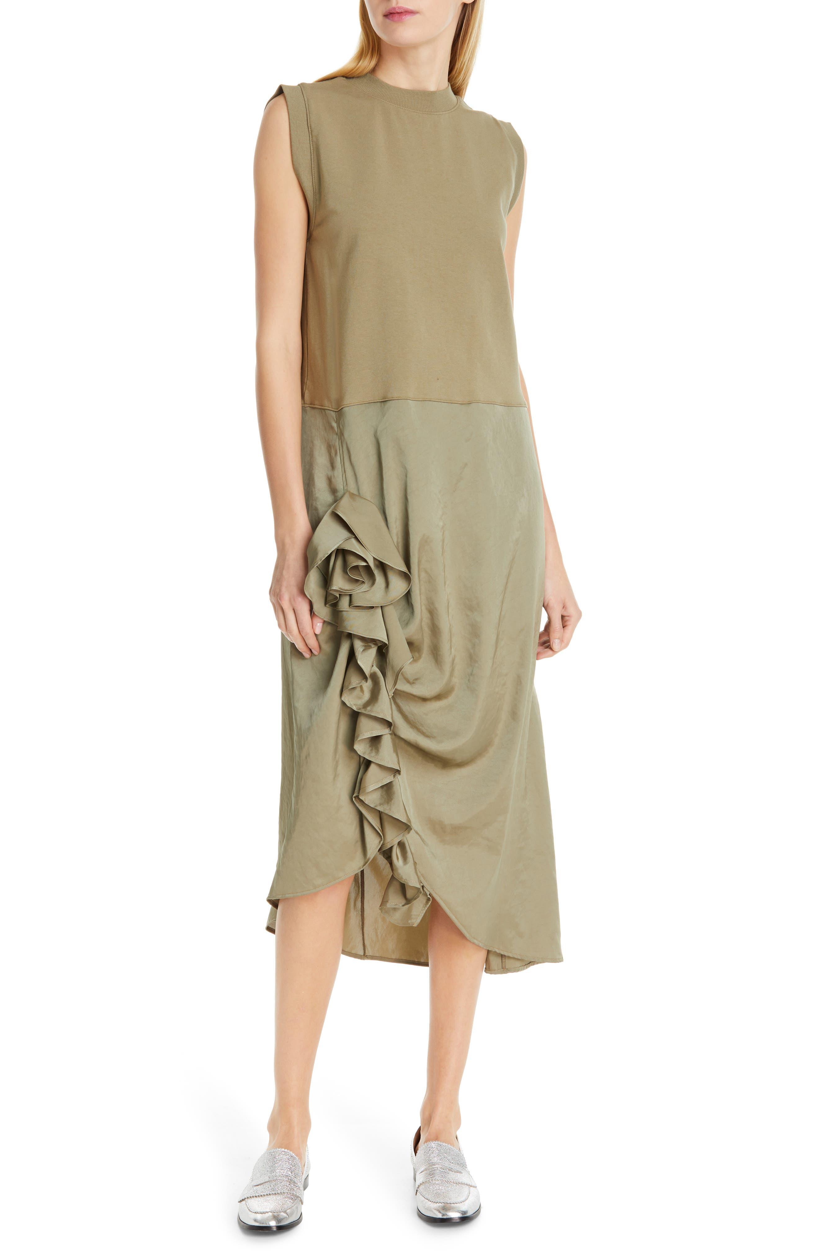 Clu Asymmetrical Ruffle Dress, Green