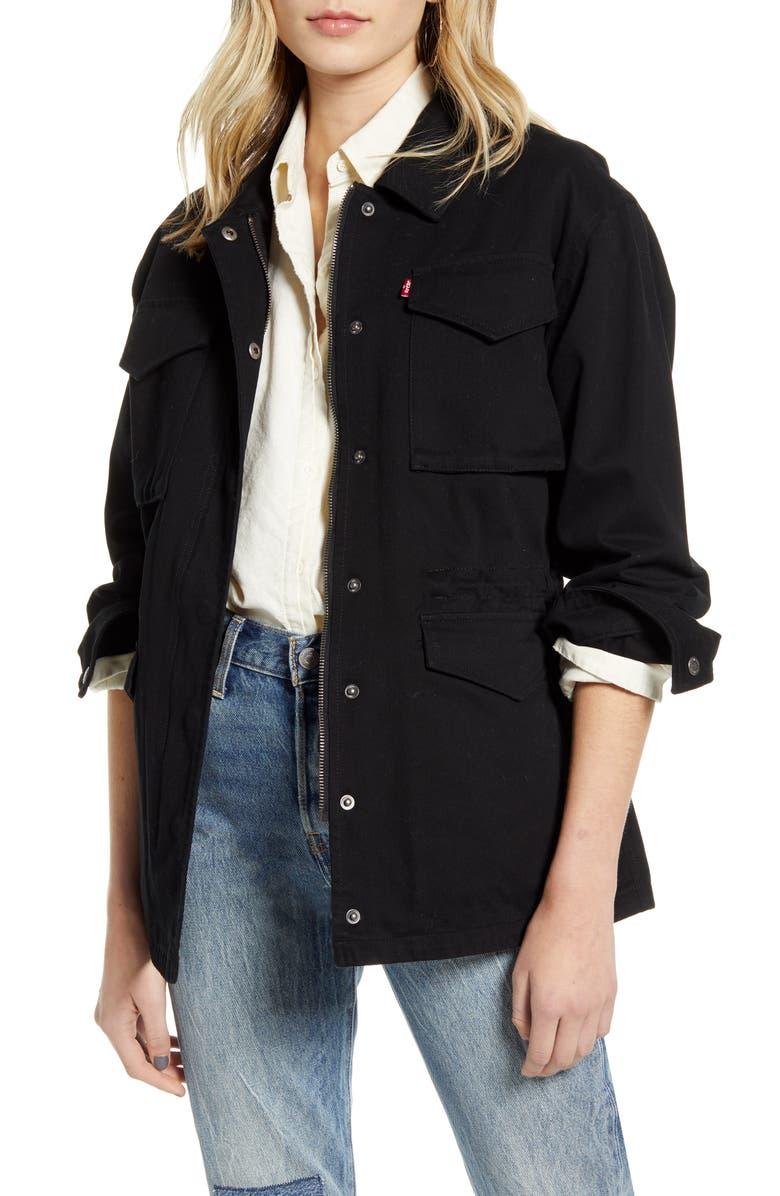 LEVI'S<SUP>®</SUP> Cotton Oversize Military Jacket, Main, color, BLACK