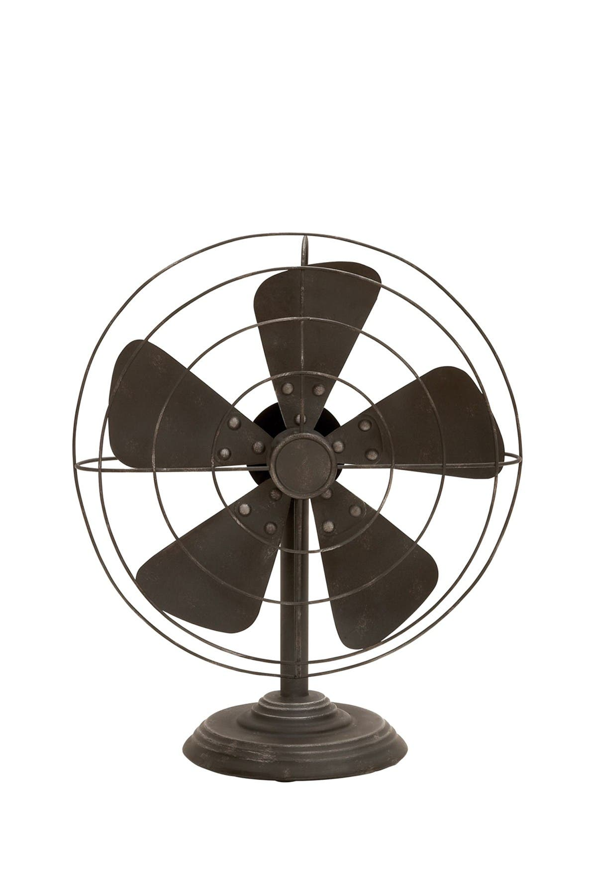 Image of Willow Row Black Antique Decorative Iron Fan Table Decor