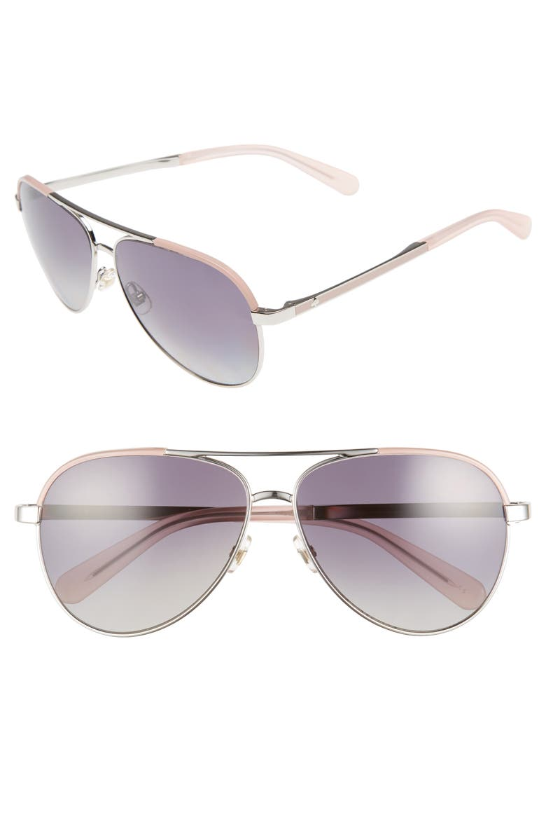 KATE SPADE NEW YORK amarissa 59mm polarized aviator sunglasses, Main, color, SILVER/ PINK