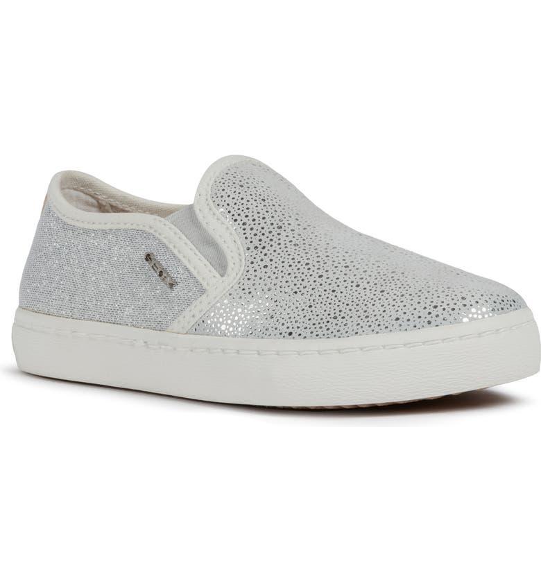 GEOX Kilwi 78 Slip-On Sneaker, Main, color, WHITE/ SILVER