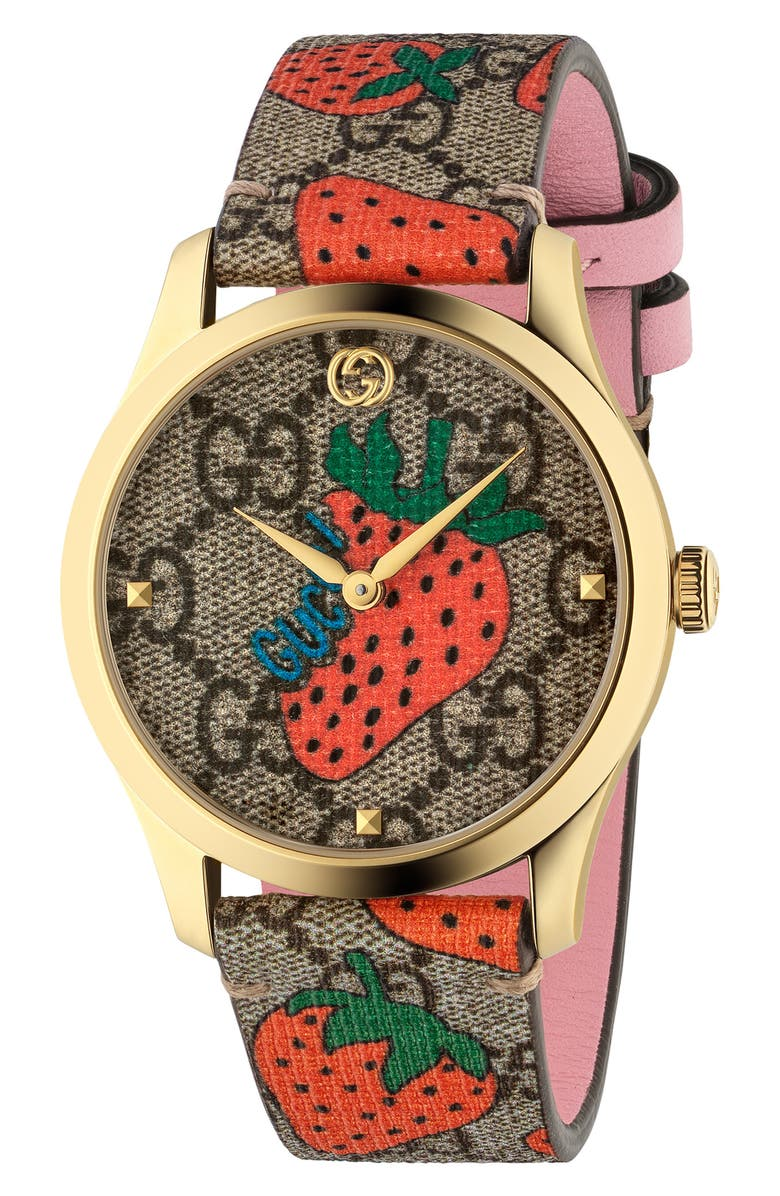 GUCCI G-Timeless Strawberry Print Strap Watch, 38mm, Main, color, BROWN/ STRAWBERRY/ GOLD