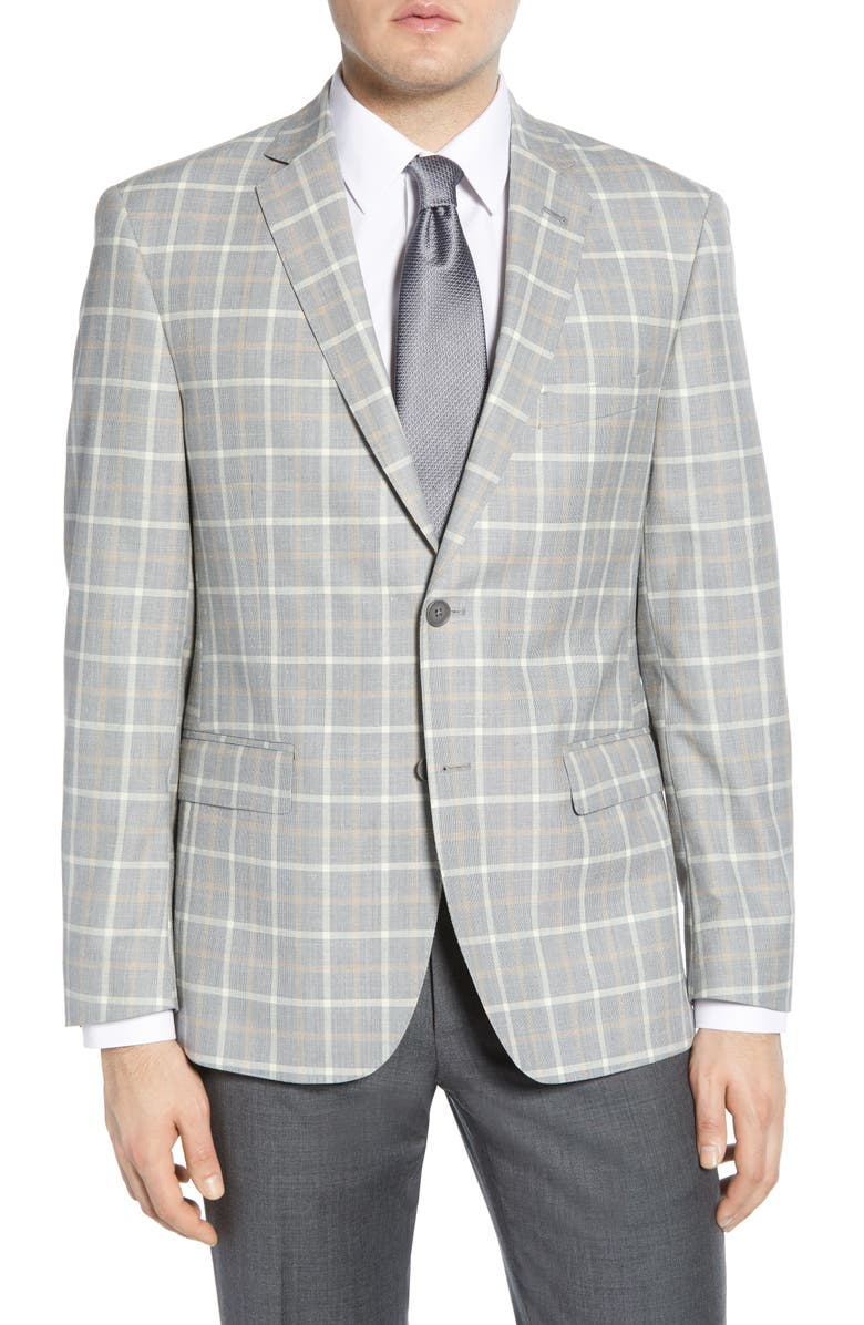 JOHN W. NORDSTROM<SUP>®</SUP> Traditional Fit Check Cotton Blend Sport Coat, Main, color, GREY FILIGREE BEIGE WINDOWPANE