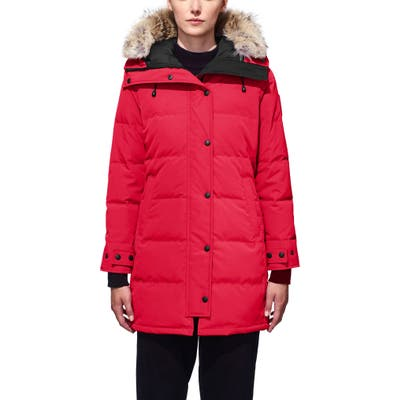 Canada Goose Shelburne Fusion Fit Genuine Coyote Fur Trim Down Parka, (000-00) - Red