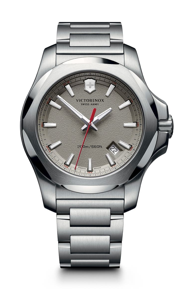 VICTORINOX SWISS ARMY Men's I.N.O.X. Analog Quartz Bracelet Watch, 43mm, Main, color, GRAY