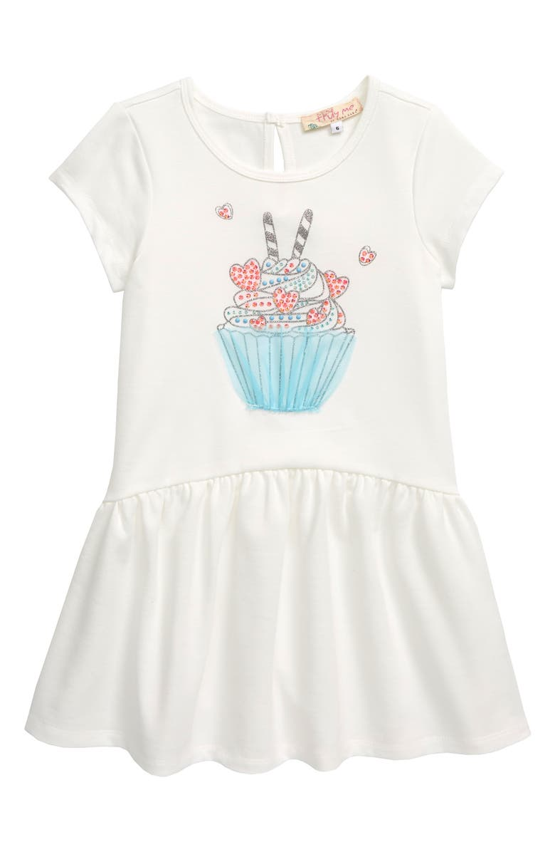 TRULY ME Cupcake Embellished Dress, Main, color, WHITE